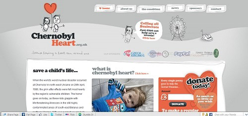 ChernobylchildrenscharityIChernobylHeartwww chernobylheart org uk 40+ Beautiful Cartoon Style Creative Website Designs