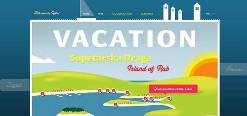 VacationinSupetarskaDragaonislandofRabwww ljetovanjerab com en 40+ Beautiful Cartoon Style Creative Website Designs