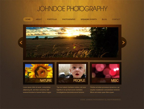 Photoshop Tutorial : Create an Elegant Photography Web Layout