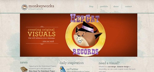 monkeyworksillustrationicondesigncharacterdesignwww dmottcreative com 40+ Beautiful Cartoon Style Creative Website Designs