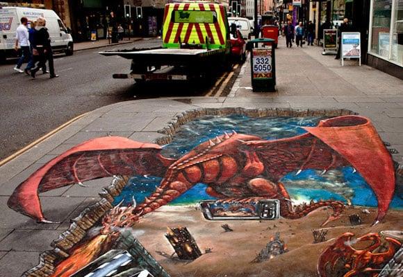 3D street art Glasgow