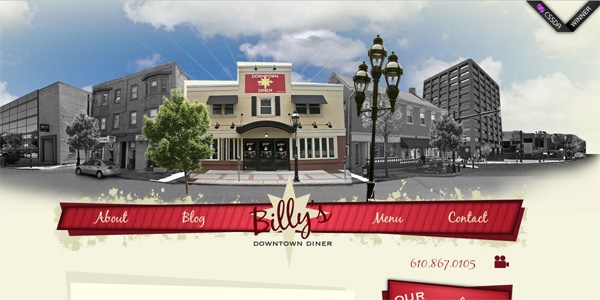 Billysdiner.com in Parallax