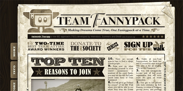 Teamfannypack.com in Parallax