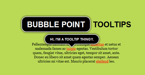 Bubble Point Tooltips with CSS3 & jQuery