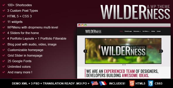 Wilderness - Premium WordPress Theme - HTML 5 CSS3