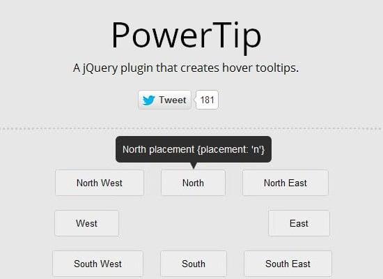 jQuery PowerTip: Create Customizable UI Tooltips
