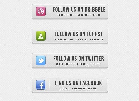 PSD 3D Social Buttons