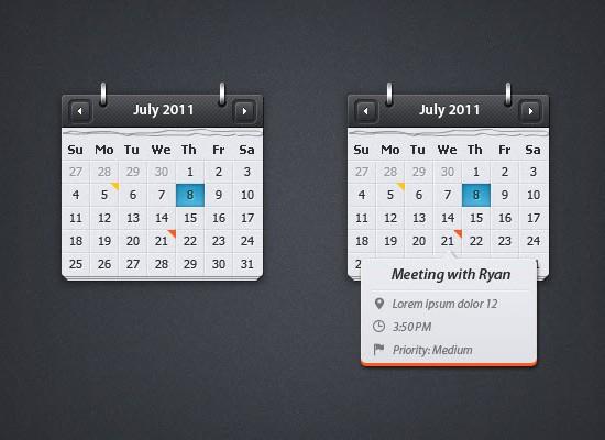 Calendar with Event Preview PSD
