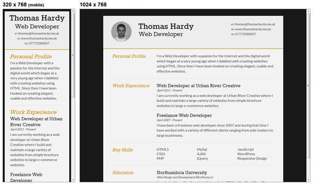 Responsive HTML/CSS3 CV Template
