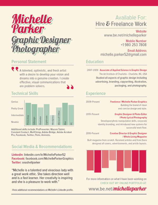 Examples of Creative Graphic Design Resumes