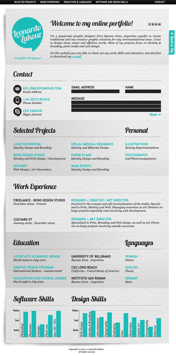 Examples of Creative Graphic Design Resumes Infographics 2012 #0: Resume Format Template
