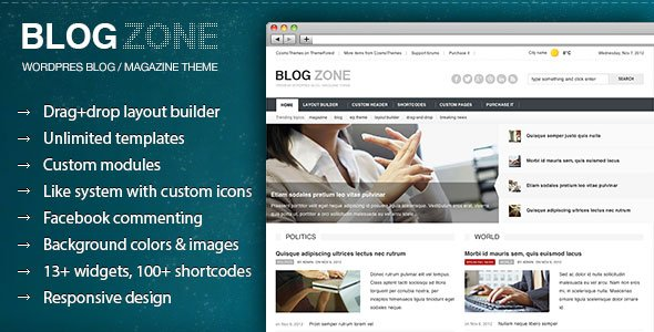Blogzone - Drag-and-drop Builder Magazine Theme