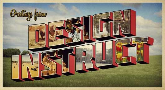 Design a Retro Postcard with 3D Text