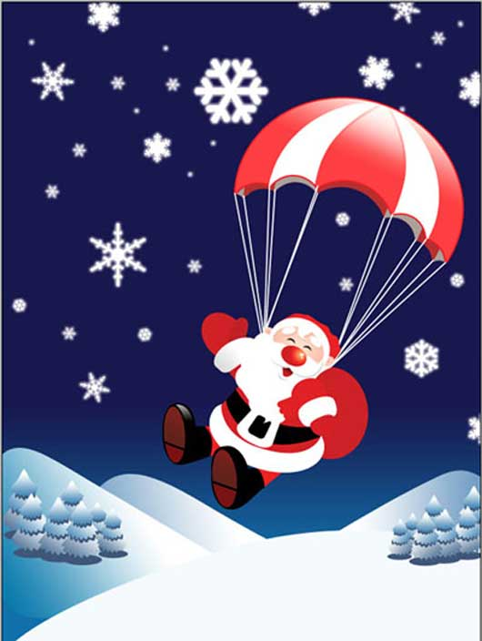 Flying Santa Claus with Gifts