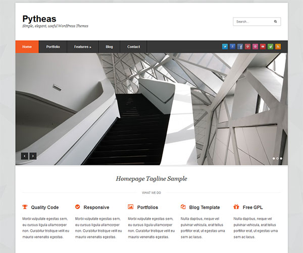 Pytheas Free Responsive Corporate/Portfolio WordPress Theme