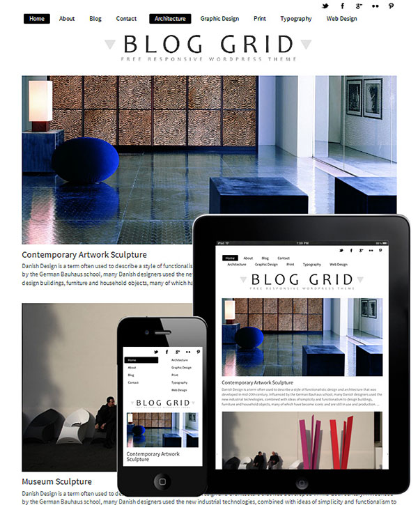 Blog Grid Free WordPress Responsive Theme