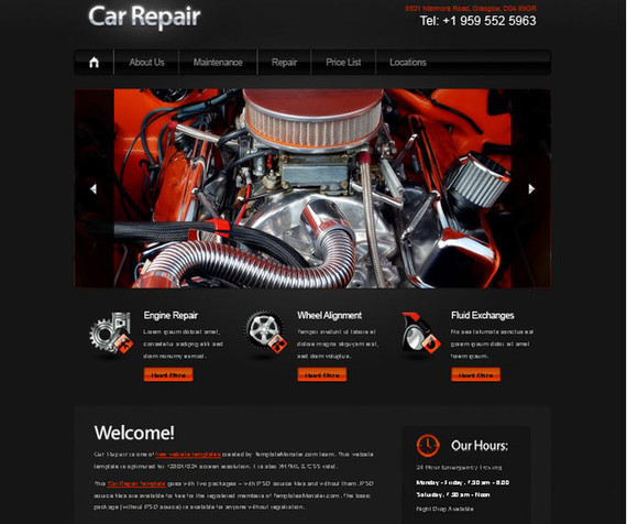 Free Website Template with jQuery Slider for Car Project