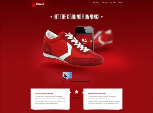Free PSD - Run App Website