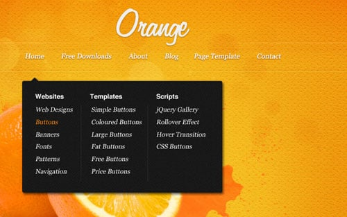 Orange: A free psd website template