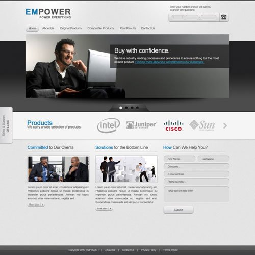 EMPOWER: CORPORATE WEBSITE TEMPLATE – FREE PSD