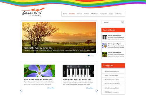 Perennial: Free PSD Website Template for WordPress Blog