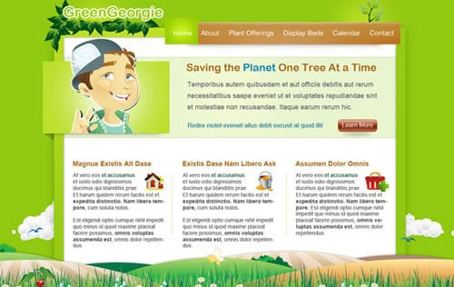 Green Georgie: Free PSD Website Template