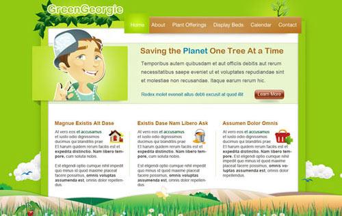 Green Georgie: Free PSD Website Template