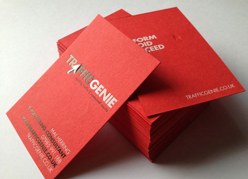 Bright Red Letterpress Business Card