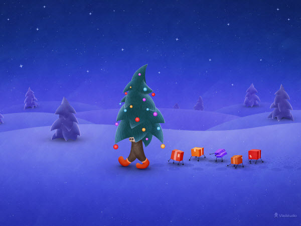 Traveling Christmas Tree Wallpaper