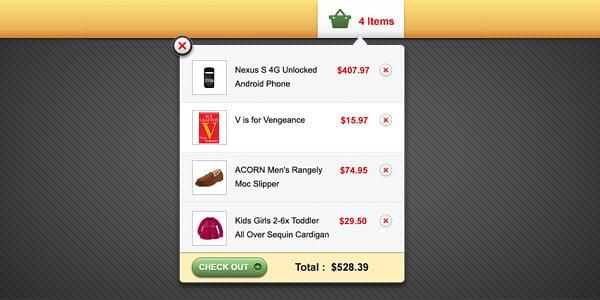Shopping cart popup interface