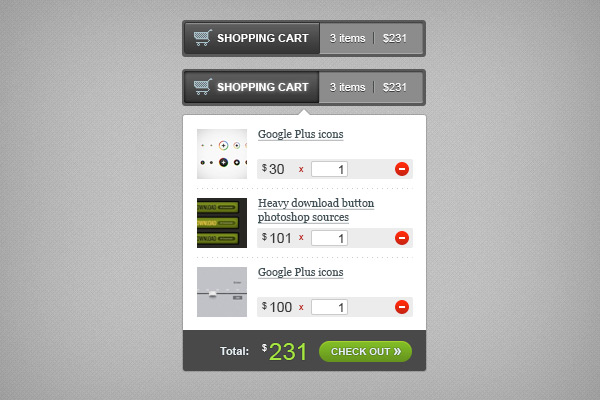 Shopping cart PSD sources