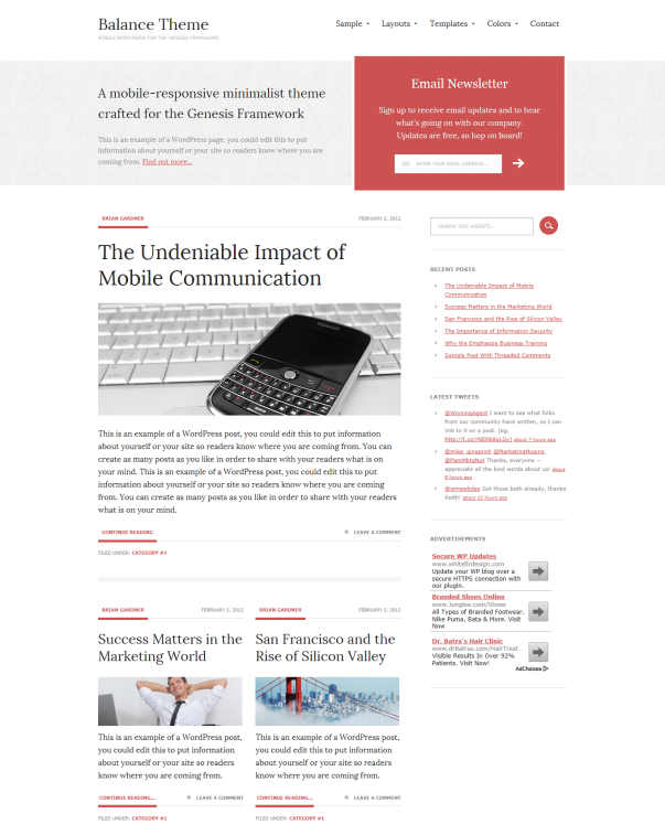 Balance Clean & Minimalistic Typographic WordPress Themes