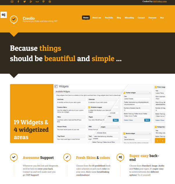 Creolio Clean & Minimalistic Typographic WordPress Themes