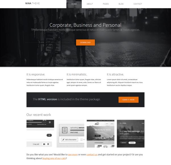 Nina Clean & Minimalistic Typographic WordPress Themes