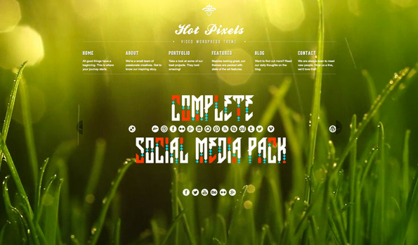 Hot Pixels - Video Background Portfolio WP Theme