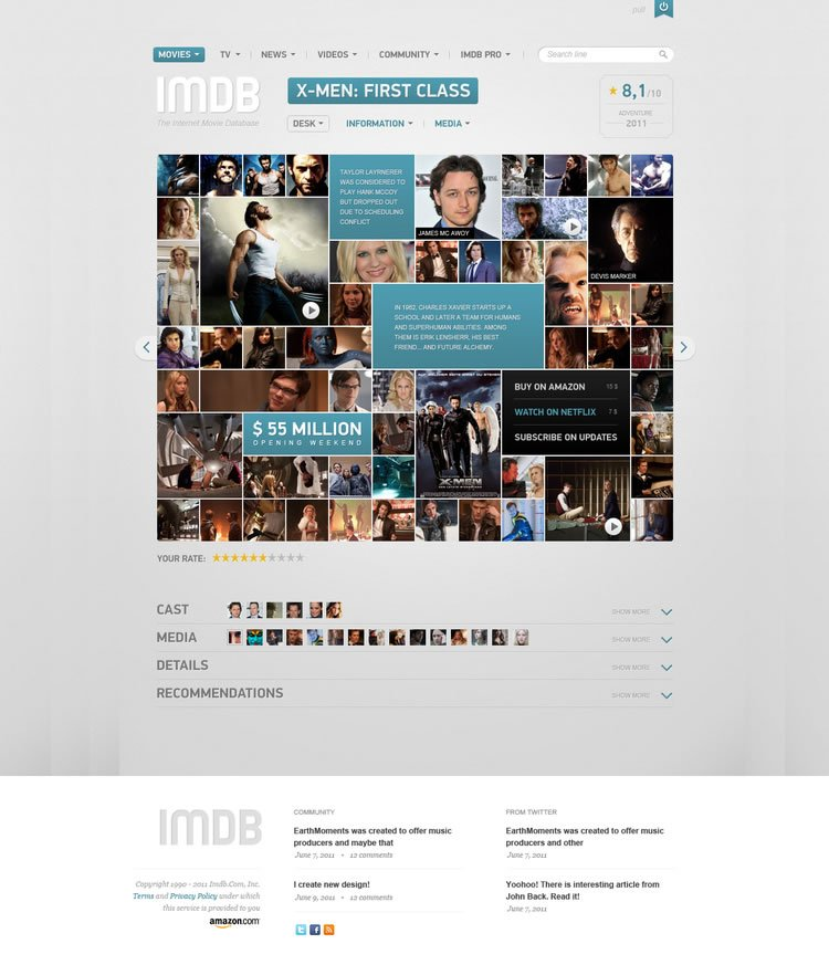 IMDB Filmpage Concept - Web Redesign Concept