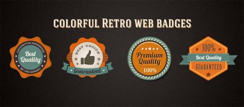 Colorful Retro Web Badges - Free Photoshop PSD Files