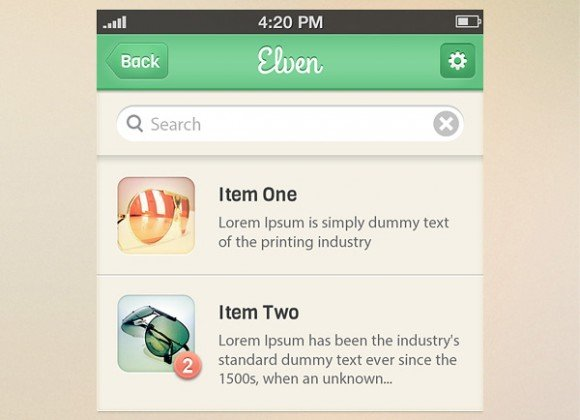 Elven iPhone App UI Kit (PSD)