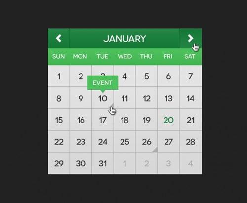 Flat Mini Calendar (PSD)