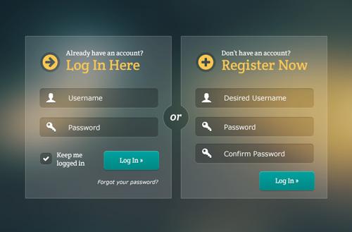 Free Glassy Login & Registration Forms