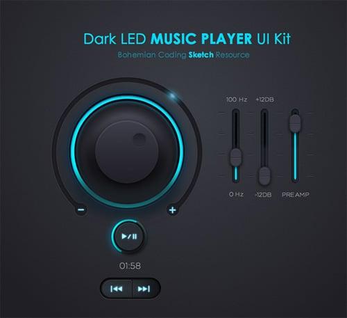 Music Player UI Kit - Free Photoshop PSD Files