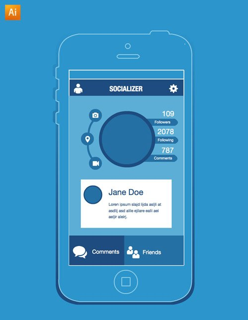 Free iPhone app wireframe
