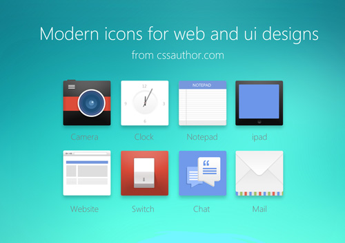 Modern Icons For Web And UI Designs (PSD)