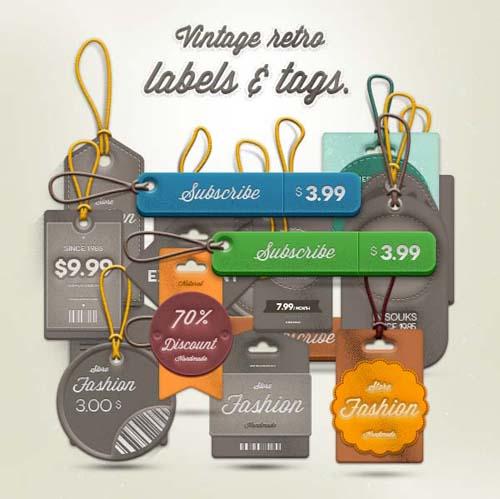 Psd Vintage Labels (Free)