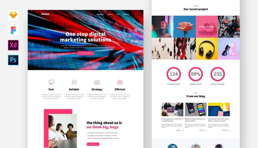 Beken Digital Agency PSD Web Template Adobe Photoshop
