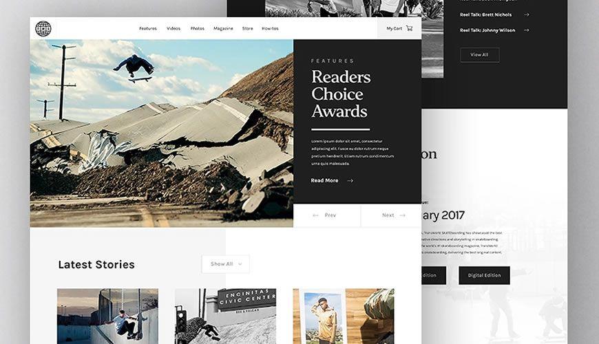 Transworld Skateboarding sport PSD Web Template Adobe Photoshop