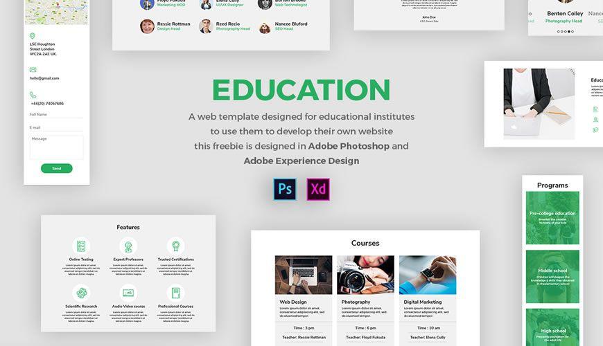 Education PSD Web Template Adobe Photoshop
