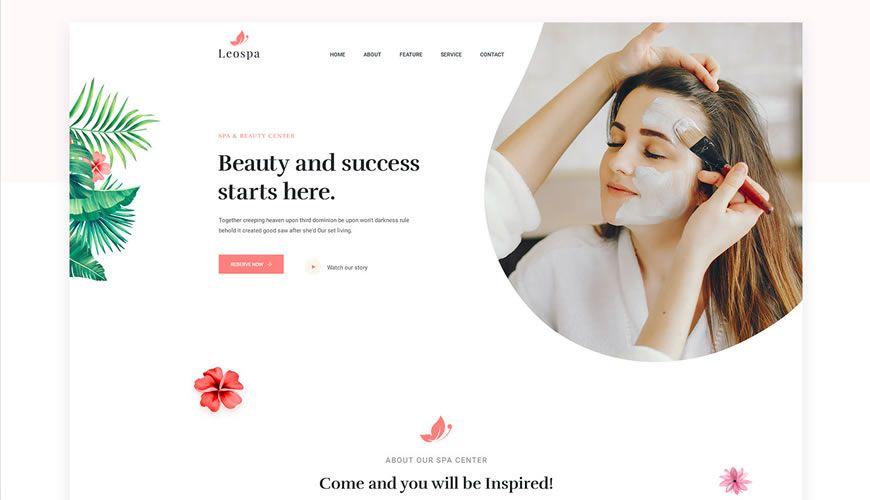Leospa One-Page PSD Web Template Adobe Photoshop