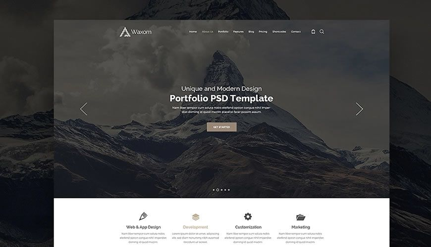 Waxom Homepage PSD Web Template Adobe Photoshop
