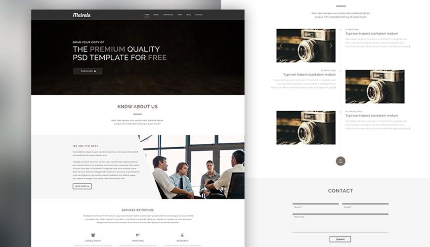 One-Page Corporate Agency PSD Web Template Adobe Photoshop